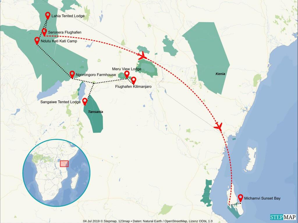 Reiseroute Tansania