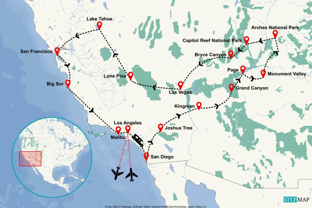 Routenverlauf Südwesten USA